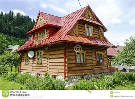 house made traditional house made of wooden logs in zakopane editorial image image 43016535