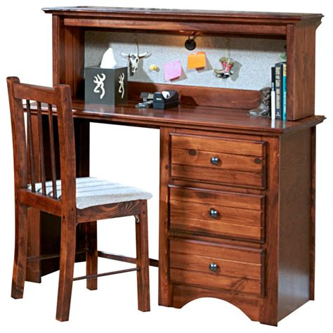 Chelsea Home 3 Drawer Student Desk With Hutch In Cocoa Student Desk And Hutch