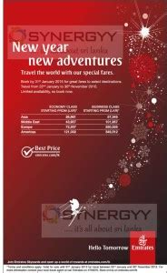 new year promo fare emirates new year promotion special fares valid till