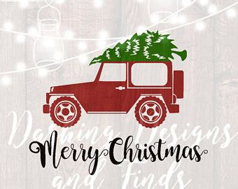 christmas jeep silhouette christmas tree suv merry christmas red truck svg cut file for