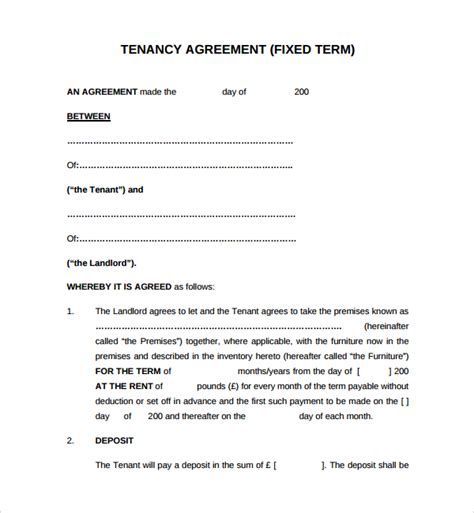 tennancy agreement template sle tenancy agreement template 9 free documents in