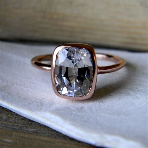 white sapphire ring gold engagement ring cushion cut