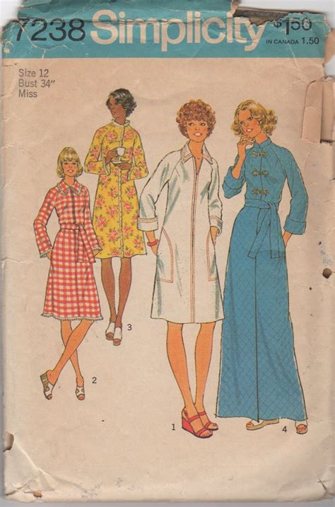 sewing pattern zip front robe simplicity 7238 1970s misses zip front robe pattern womens