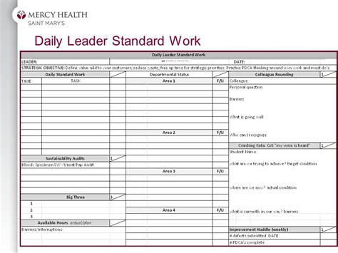 standard work template leveraging lean management the system tools and