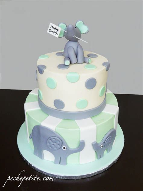 Elephant Baby Shower Cake by Owl Elephant Cakes Peche