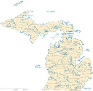 map rivers map of michigan lakes streams and rivers