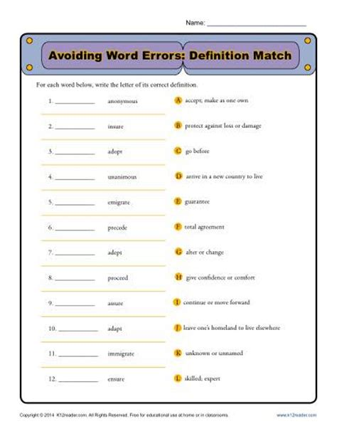 avoiding word errors commonly confused words worksheet