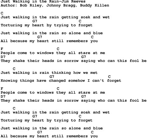 walking the lyrics country just walking in the jim reeves lyrics and chords