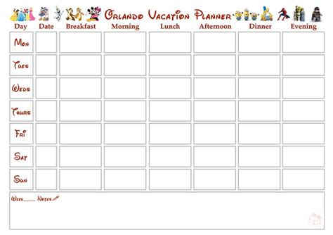 printable disney holiday planner walt disney world orlando vacation planner free