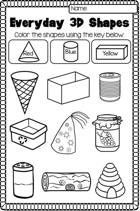 worksheets using shapes 2d and 3d shapes worksheet pack no prep 3d shapes