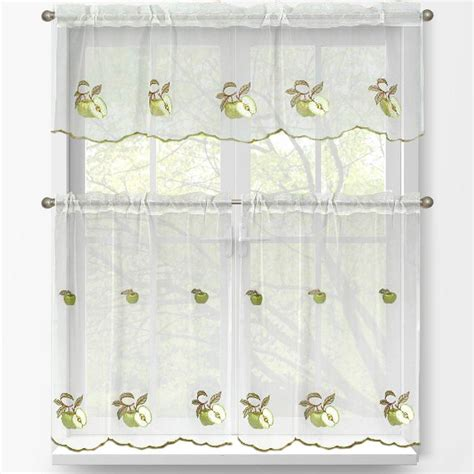 Green Kitchen Curtains Designs Window Elements Green Apple Embroidered 3 Kitchen Curtain Tier And Valance Set Ymc001176
