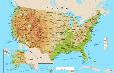 map of america physical united states geographical map