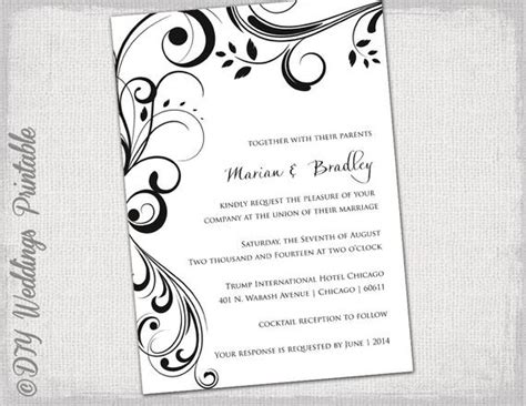 Wedding Invitation Templates Black And White Wedding Invitation Templates Word Document