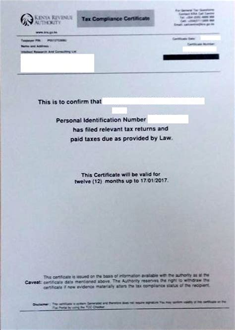 Tax Credit Compliance Letter Tax Compliance Certificate