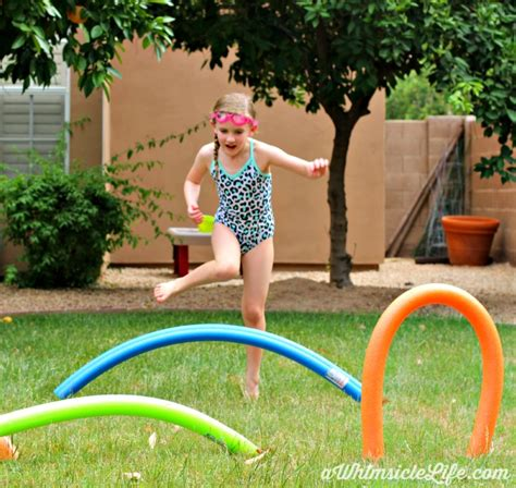 Backyard Using Pool Noodles Pool Noodle Obstacle Course Summer Activity For