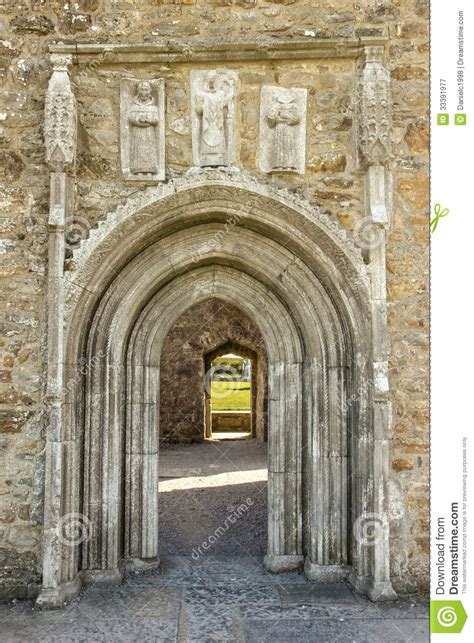 Whispering Door by Cathedral Doorway With Carvings Clonmacnoise Ireland