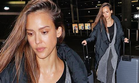 Alba Forced Out by Make Up Free Alba Wows As She Jets Out Of New York