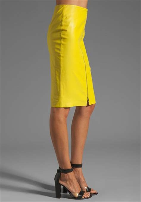 by malene birger luxurious leather pencil skirt in neon