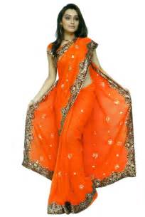 orange bridal designer wedding sequin chiffon saree sari