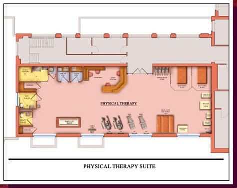 physical therapy clinic floor plans architectural rendering 3d computer modeling colored