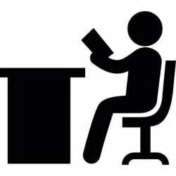 schreibtisch icon person lesung sitzt auf einem schreibtisch der