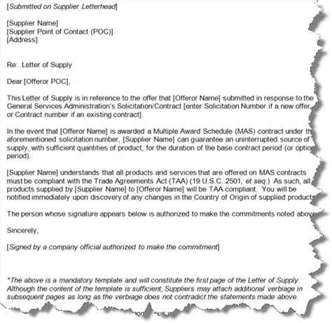 Letter Of Agreement For Supplier Gsa Letter Of Supply