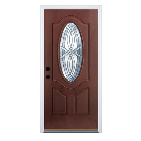 shop therma tru benchmark doors terracourt  panel insulating core oval lite left hand outswing