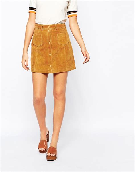 monki monki a line 70 s suede skirt at asos
