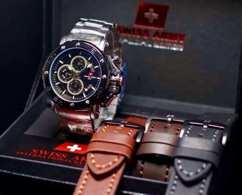 desain kemasan jam tangan jual jam tangan keren swiss army chrono premium desain