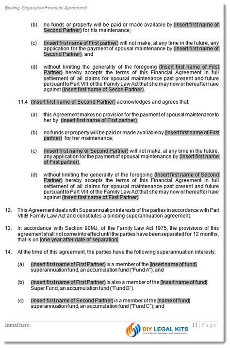 Marital Marriage Separation Agreement 90C