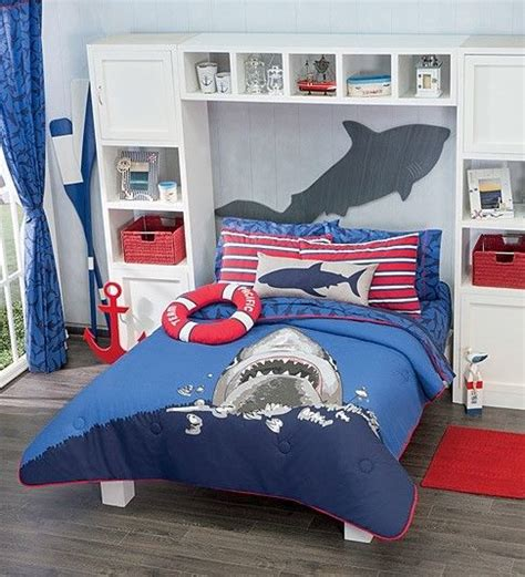 new boys navy blue sea shark comforter bedding set