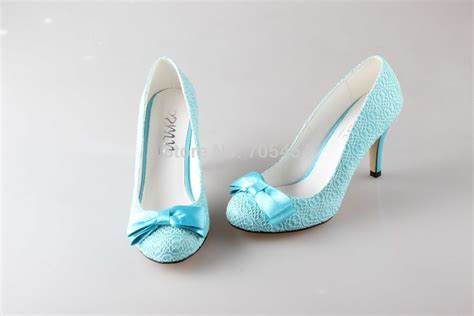 Light Blue Wedding Shoes by Bs761 Free Shipping Custom Handmade Light Blue Lace Bowtie