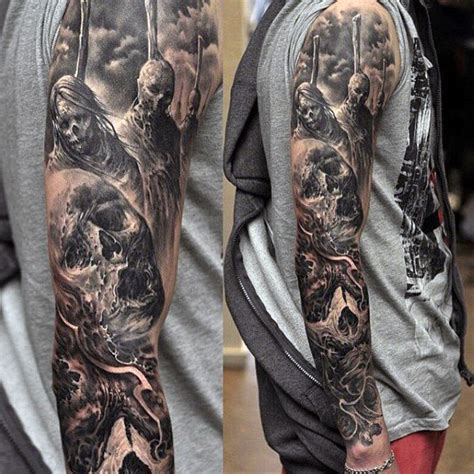 black and grey tattoo designs for men top 100 best sleeve tattoos for cool designs and ideas