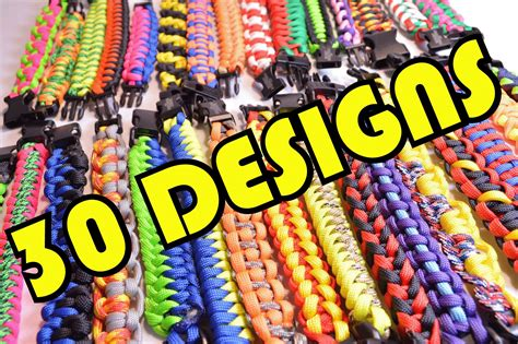 30 Paracord Designs in 2 Minutes   All Paracord Survival Bracelets   BoredParacord   YouTube