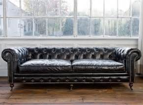 Oversized Chandeliers Chesterfield Sofa Vintage Black Leather Traditional