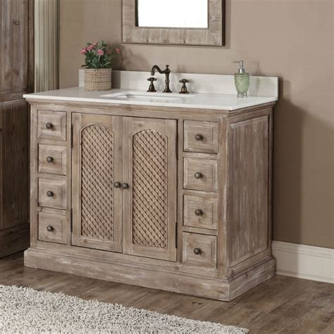Rustic Style Bathroom Vanities Rustic Style Carrara White Marble Top 48 Inch Bathroom Vanity Free Shipping Today Overstock