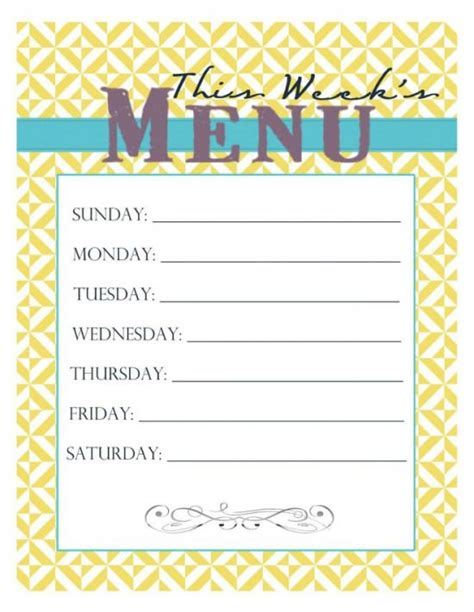 30 Family Meal Planning Templates Weekly Monthly Budget Tip Junkie Free Printable Dinner Menu Template