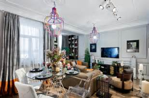 Interior decorating in eclectic style with unique lighting fixtures
