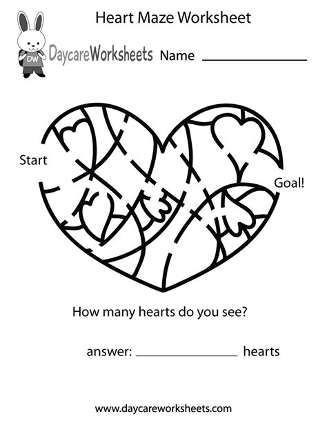 printable heart maze free preschool heart maze worksheet