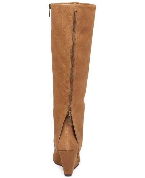 rallie cuffed wedge boots in brown lyst