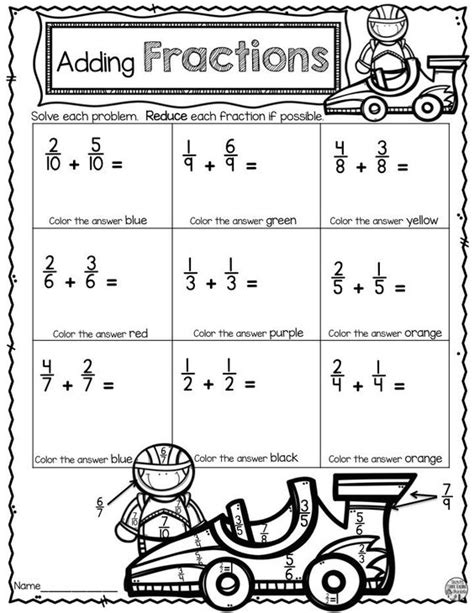 Fraction Coloring Page 5th Grade by Adding Fractions Fractions And Number Worksheets On