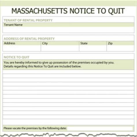 Eviction Tenant At Will Massachusetts Massachusetts Notice To Quit