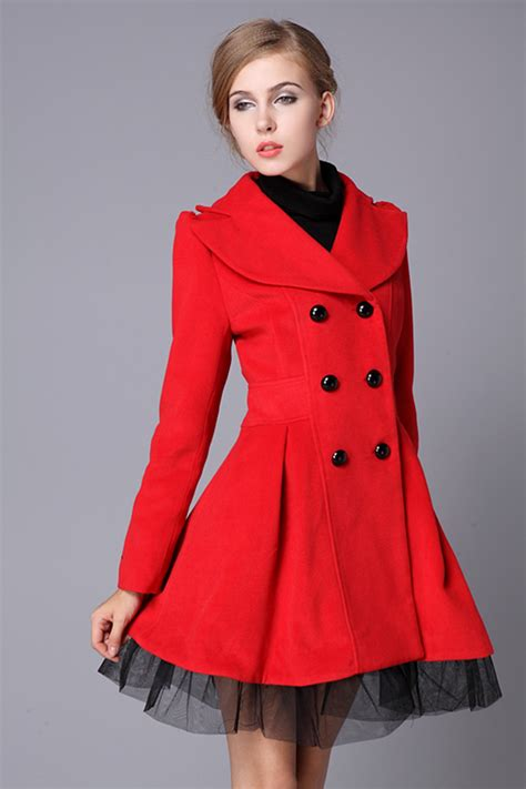 red swing coat red swing wool coat jacket pea coats princess outerwear