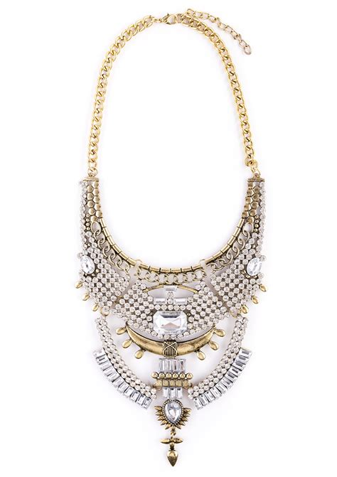 stones and gold statement necklace happiness boutique