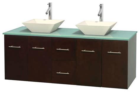 double sink countertop bathroom 60 quot double bathroom vanity in espresso green glass