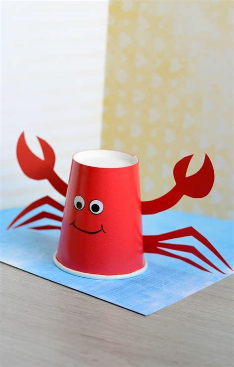 Craft Work With Paper Cups - paper cup crab craft for easy peasy and