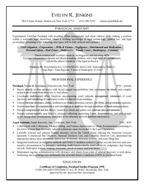 Paralegal Resumes by Paralegal Resume Exle Resume Exles Resume And