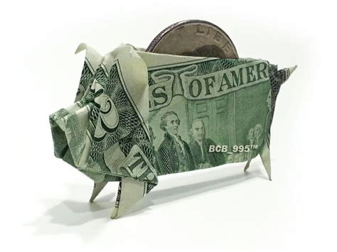 Dollar Origami Pig - 2 bill piggy bank money origami origami