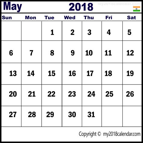 India Calendã 2018 May 2018 India Calendar Free Calendar Templates