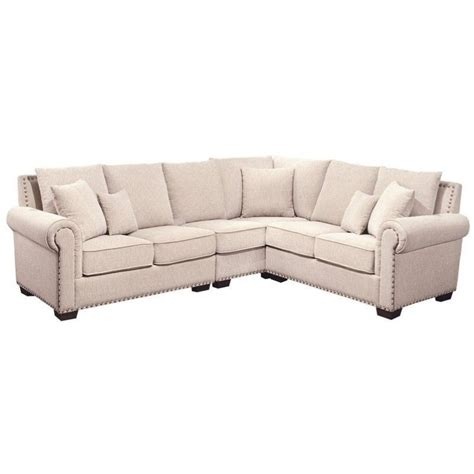 abbyson living sectional sofa abbyson living bromley fabric nailhead sectional sofa in